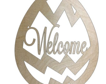 Unfinished Wood Easter Welcome Egg Striped in 20 inch tall