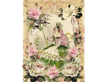 "Antique Fairy Collage Cotton Fabric Quilt Block (1) @ 5X7"" on 8.5X11"" Sheet"