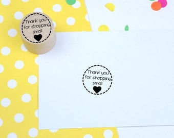 Thank you for shopping small Mini Stamp - Rubber stamp - business stamp - packaging stamp