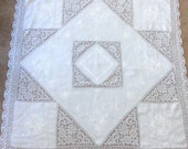 Square Army Navy Tablecloth Linen and Lace 51 x 51