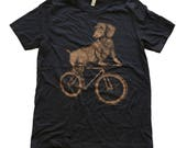 Dachshund on a Bike- Mens T Shirt, Unisex Tee, Tri Blend Tee, Handmade graphic tee, Bicycle shirt, Bike Tee, sizes xs-xxl