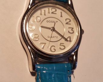 Gossip Wide Watch Late 1980's  Unisex Watch Big Numbers and New Battery Blue Genuine Leather  Band working