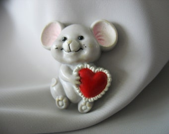 Mouse Pin Brooch, Valentine's Heart, Childs jewelry, Red Heart, Cute Mouse, Plastic, Russ