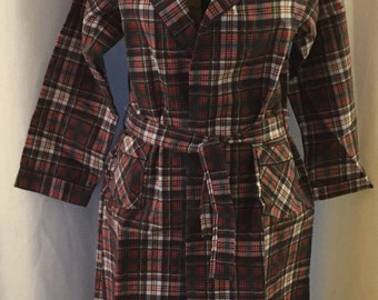 Vintage Tom and Jerry Plaid Preppy Cotton Blend Robe New!