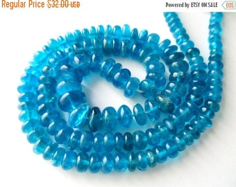 SALE Neon Apatite smooth rondelle- 3-7mm- 8 inch