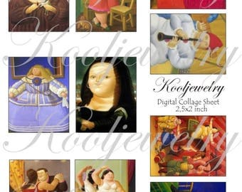 Botero painting for cards, ACEO, ATC, scrapbook and more Digital Collage Sheet 2,5 X 2 inch No.1711