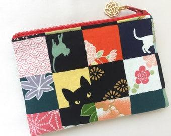 Kimono & Neko Coin Purse / Zipper Pouch - patchwork pattern