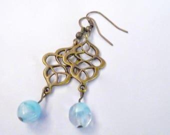 Dangle Earrings, Copper Earrings, Charm Earrings, Blue Earrings, Beaded Earrings