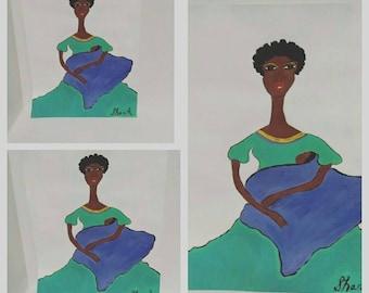 black african woman art ,black woman painting, black woman,and baby art, african american child art