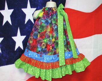 SALE Girls Dress 2T/3T 4th of July Fireworks, Firecrackers, Pillowcase Dress, Pillow Case Dress, Sundress, Boutique Dress