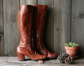 Tall Leather Boots Vintage Bohemian Fashion Made in Spain Grunge Vintage From Nowvintage on Etsy