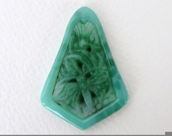 Vintage Flower Cabochon Jade Green Glass Dragonfly Carved Effect Large Kite Shape Czech 48x34mm gcb1298 (1)