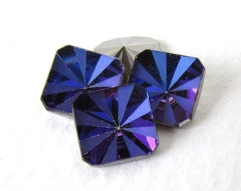 Vintage Swarovski Crystal Rhinestone Heliotrope Square Octagon Rare Deco Style Blue Purple Pink Glass Jewel 8mm swa0769 (4)