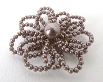 Vintage Pearl Flower Taupe Daisy Trim Gold Filigree Wired Millinery Beading Finding 2 inches vml0071 (1)