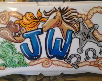 Baby Wipes Travel Case - Cowboy Design - Handpainted and Personalized