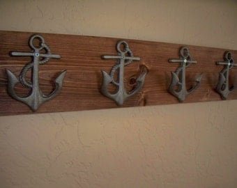 Anchor wall hooks, beach themed coat rack, bathroom towel hooks, housewarming gift, rustic wood boards