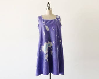 SALE Vintage Purple Sleeveless Cotton Tye Die Mini Smock Festival Boho Chic Dress - M/L