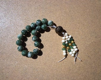 Worry Beads, Tree Agate and Green Aventurine Gemstones, Gold Plated Beads, Meditation Beads, Protection Stone, Good Luck Stone, Healing Aid