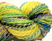 HALF OFF SALE Handspun Yarn Waste Not Want Not C 162 yards rainbow yarn knitting supplies crochet supplies waldorf doll hair