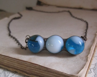 Blue Marble Bib Necklace Stained Glass Jewelry