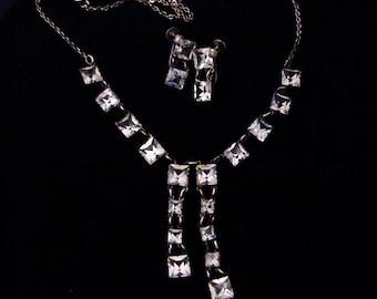 Antique Art Deco STERLING Open Back Crystal Necklace & Screwback Earrings Set