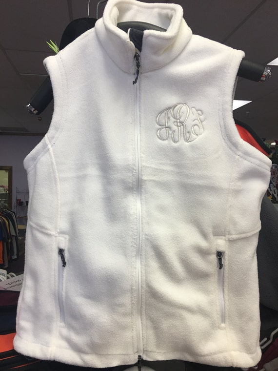 Ladies Sleeveless Fleece Vest Personalized with 3-letter Monogram or Name