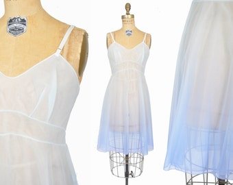 vintage 1950s nightgown / blue ombre nightie / sheer 50s night gown