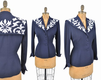 "1940s beaded jacket / Arabesque embellished jacket / navy blue gabardine blazer / 40s jacket .. 30"" waist"