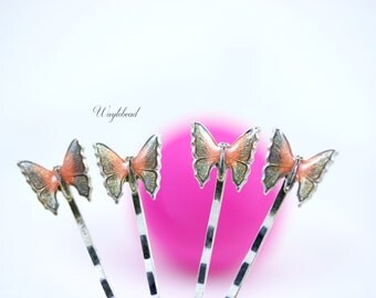 Hair Pin Hair Accessories Vintage Enamel Butterfly Bobby Pin - 6