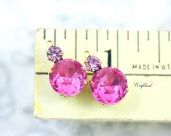 Rose Pink & Light Amethyst Vintage Round Stones 18x11mm Swarovski Crystal Bangle Connector Brass Settings - 2