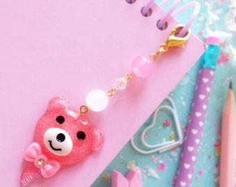 SHIPS APRIL 3rd - Planner Charm Phone Charm Bag Charm Kawaii Charm Pink Glitter Bear Charm Dust Plug Zipper Pull Sweet Lolita Fairy Kei
