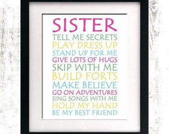 INSTANT DOWNLOAD - Sister Wall Art Print - Sister Decor - Girls Bedroom Decor - Printable - Nursery Print - Sister Quote