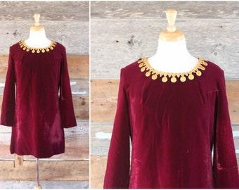 1960s velvet mini dress | 60s dress by Pretty Talk | size m