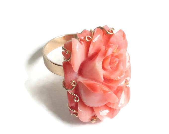 Carved Coral Rose Flower Ring 14K Gold Size 7 3/4