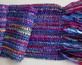 "Handwoven Hand-dyed Ribbon Scarf with long fringe - Aurora Brights- 68""x 5"""