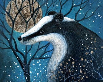 SALE!!  Limited edition giclee art print by Amanda Clark. Painting of a badger, miniature painting, wall art