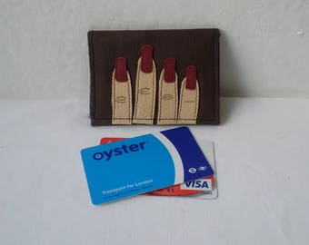leather card holder, brown leather, leather wallet, oystercard holder, credit cards, ID, upcycled, leather purse, recycled leather