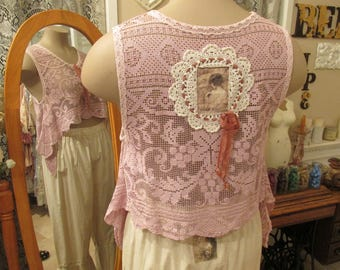 Vintage Kitty..hand dyed needle lace cropped tunic. dusky rose.. shabby chic, mother of pearl buttons, ooak, layering tunic, med-large