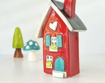 Red House with Turquoise Blue Door | Little Clay House | Miniature House | Whimsical Clay house | Fairy House | Little Red Clay Cottage