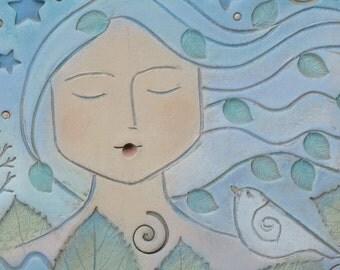 4 x8 Handmade Ceramic dreamer, Home Decor, wall art, stars, moon