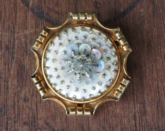 Antique French Ornate Brass and Sequin Brooch