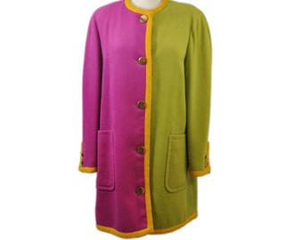 1980s Bill Blass Pink and Green Wool Color Block Lined Big Patch Pockets Vintage Winter Coat