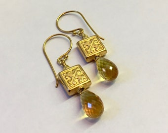 Golden Citrine and 22 Karat Gold over Sterling Silver Vermeil Earrings