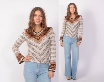 Vintage 70s SWEATER / 1970s Space Dyed Chevron Boho Bell Sleeve Pullover Knit Top xs-s