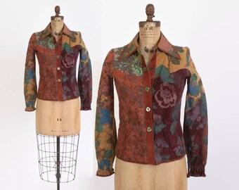Vintage 70s Leather JACKET / 1970s Printed Floral Patchwork Boho Leather Jacket