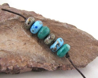 Spacey Crusters - Small Lampwork Matte Finish Crusty Rustic Spacer Beads -Malachite Green, Light Turquoise Blue, Metallic Grey set of 6