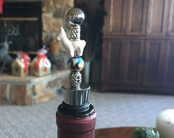 Wine Stopper with White Ceramic Llama Bead
