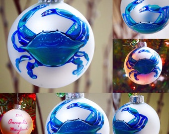 """Annapolis Christmas Chesapeake Bay Crab Matte Glass Ball 2.5"""" Ornament Personalization available White Holiday Ornament with mini bulb"""