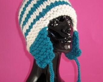 50% OFF SALE Instant Digital File pdf download Knitting Pattern - Super Chunky Stripe Trapper Hat knitting pattern pdf download