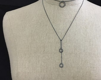 Silver and Black 3 Into 3 Circles Choker/Lariat Style Oxidized Argentium Sterling Silver Necklace